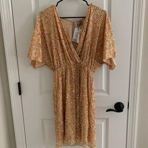 ASOS V neck gold sequin cocktail dress ✨